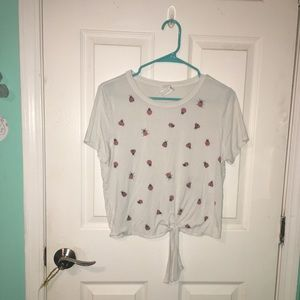 -lady bug tie front tee-